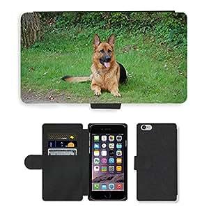 "PU LEATHER case coque housse smartphone Flip bag Cover protection // M00135165 Perro alemán de Shepard Mascotas // Apple iPhone 6 4.7"""