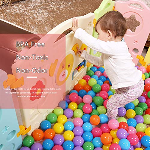 14 Panel Safety Play Yard for Kids Toddler Baby, Colorful Cute Kids Playpen with Gate Safety Lock, Lightweight Panel Play Activity Centre Yard, Flexible Sturdy Play Pen Indoor for Toddler