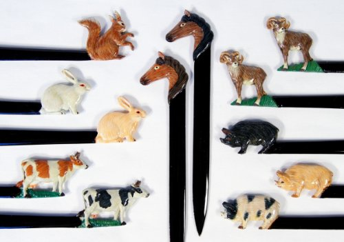 Wholesale Pack Handpainted Assorted Domestic Animals Letter Openers: Pig Cow Ram Rabbit Horse Squirrel (Set Of 12)