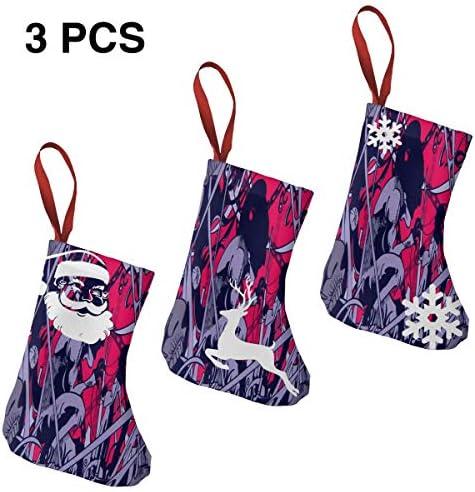 クリスマスの日の靴下 (ソックス3個)クリスマスデコレーションソックス 悪魔戦争 クリスマス、ハロウィン 家庭用、ショッピングモール用、お祝いの雰囲気を加える 人気を高める、販売、プロモーション、年次式
