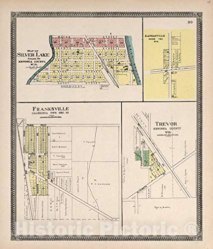 (Historic 1908 Map | Plat Book of Racine and Kenosha Counties, Wisconsin | Map of Silver Lake; Kansasville; Franksville; Trevor 38in x 44in)