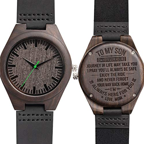 to My Son I Am Always Here for You Engraved Watch to Son from Mom,Personalized Custom Engraved Leather Ebony Wooden Watch for Men