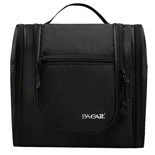 Bagail Toiletry Bag Men & Women For Makeup, Cosmetic, Shaving, Travel Accessories, Personal Items -Hotel, Car, Home, Bathroom, Airplane Hanging Toiletries Kit Makeup Organizer Black