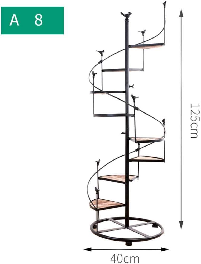 Escalera de caracol de hierro forjado de múltiples capas, escalera de 8 pisos con balcón, sala de estar, maceta de interior, estante para macetas, 100 * 40 cm (color : A125*40cm, Tamaño : 8)