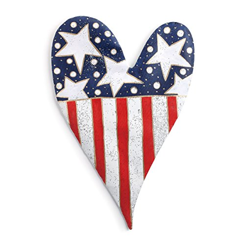 Demdaco Stars and Stripes Heart Door Hanger 20.5 Inches Width x 32 Inches Height Decorative Signs