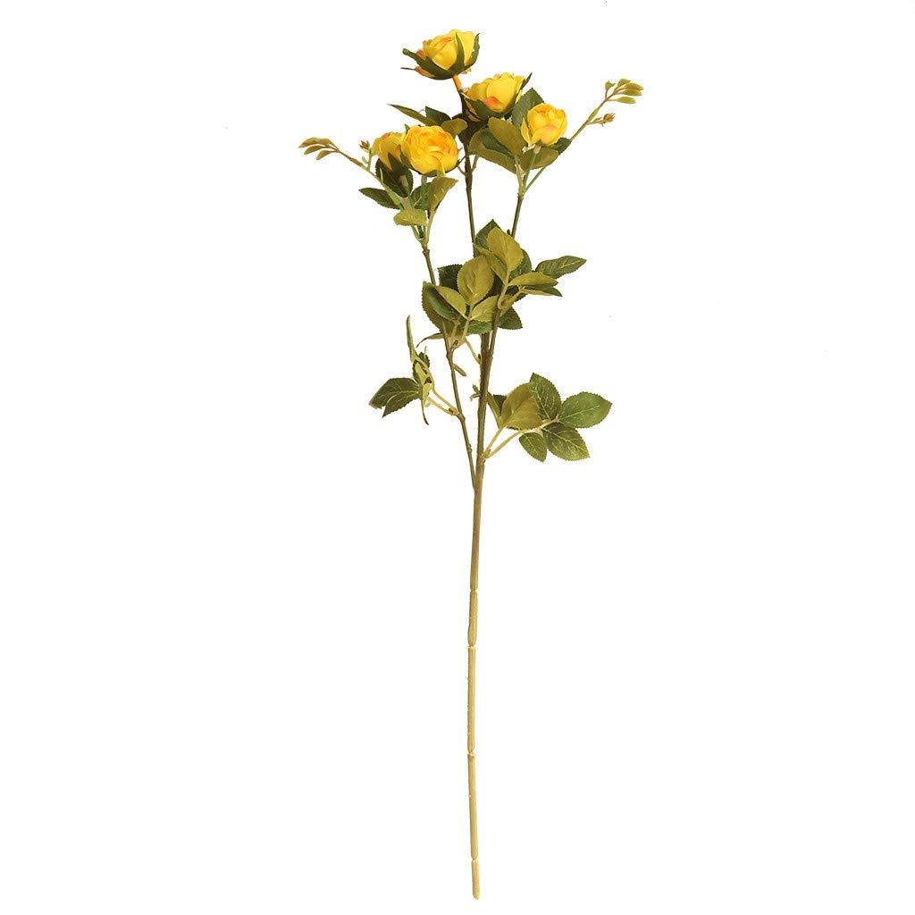(ボトロン) Botrong 人工牡丹の花 ウェディングパーティー ホーム装飾 フェイクフラワー ブライダルブーケ Size:Length:50cm イエロー B07MDX37DS イエロー