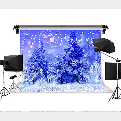 STS 9x6ft Snow Ice Photo Studio Background Forest Snowflakes Nature Winter Scene Christmas Landscape Pine Trees Blue Photography Backdrops Props GEST389]()