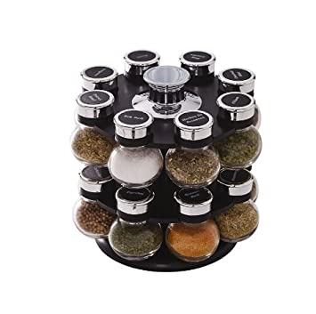 Kamenstein Ellington 16 Jar Revolving Spice Rack With Spice Refills For 5  Years (5