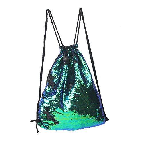 Tinksky Mode Glitter Bag Sackpack Pailletten Tunnelzug Rucksack (grün)