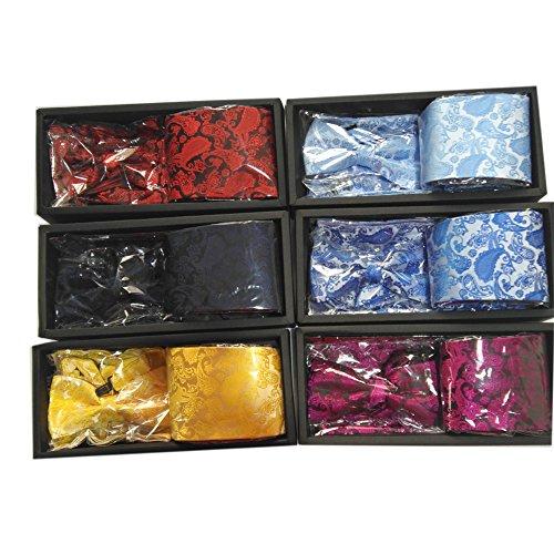 Colored Tie Men' Threesets Bow Pocket Necktie Square Long Self Wedding 3 Jacquard Party SCFL s Black Multi Set Z1wdW8q