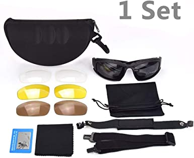 Tactical Glasses, Military Sunglasses Kit w4 Interchangeable Lenses And Hard Shell Case For Men, Protection Eyeshield Polarized Sport Army Safety