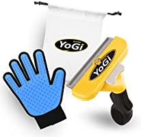 Pet Brush & Pet Grooming Glove - Pet deShedding tool brush & glove for dogs, cats & horses by YoGi Prime, Groom your cat with this fantastic grooming set and your cat will be a happy cat. Fit to all pet sizes. 4' inch brush. Dog glove Dog brush groomer pet hair remover. Grooming brush kit for long/short hair includes a carry bag. No More pet hair everywhere around the house.