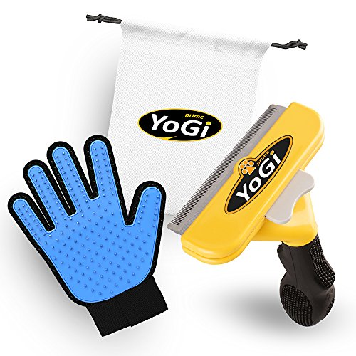 YoGi Prime Pet Brush & Pet Grooming Glove - Pet deShedding Tool Brush & Glove for Dogs, Cats, Horses, Groom Your cat with This Fantastic Grooming Set and Your cat Will be a Happy cat. by YoGi Prime