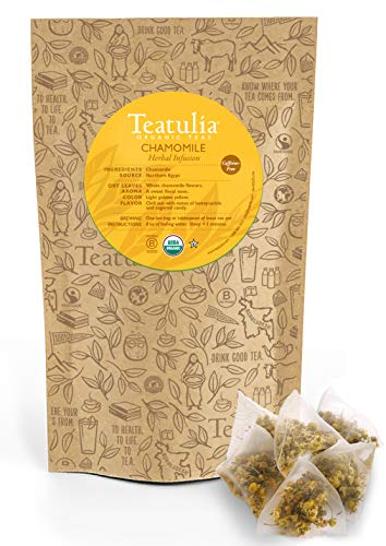 Teatulia Organic Chamomile Herbal Tea 50ct Premium Pyramid Tea Bags - Brew Hot or Cold Compostable Corn-Silk Bags
