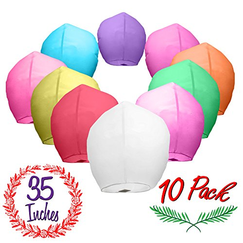 Chinese Paper Sky Lanterns (10) Colorful Mixed Pack - Ready to Use and Eco Friendly - Extra Large - 100% Biodegradable - Beautiful Blue Night Sky Lantern, New Year's Eve, Chinese Festival