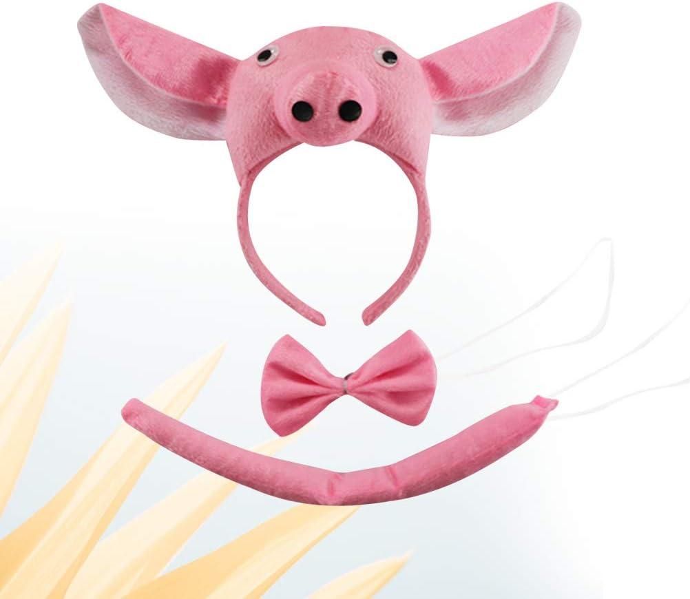 Amosfun Traje de Orejas de Cerdo con Corbata de moño y Cola ...