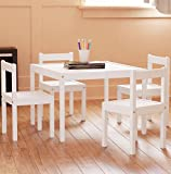 Kids Table and Chairs Set White Wood Children's Set with 1 Square Table and 4 Chairs , Great for Playing , Learning , Eating