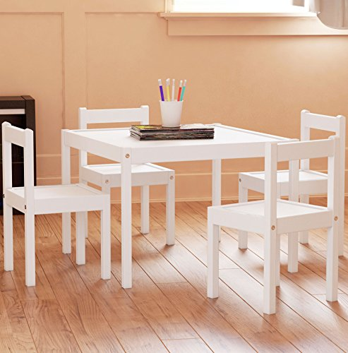 kids table and chairs set white wood children s set with 1 square table and 4 chairs great for. Black Bedroom Furniture Sets. Home Design Ideas