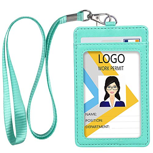 Detachable Id Window - Leather ID Badge Holder, Vertical PU Leather ID Badge Holder with 1 Clear ID Window & 1 Credit Card Slot and a Detachable Neck Lanyard (Green)