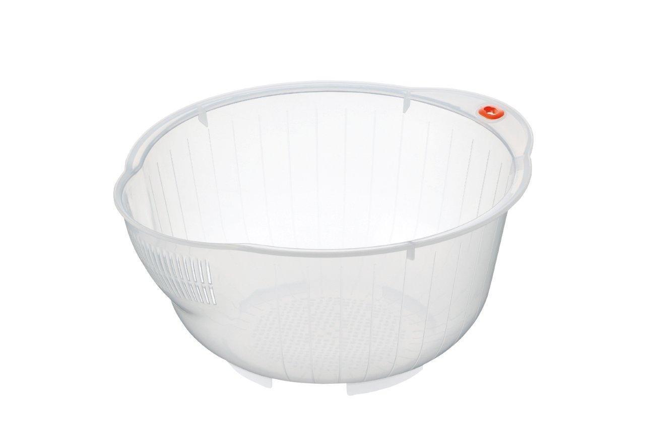 Inomata Japanische Reis waschen Schüssel mit Seite und Unterseite Drainers, weiß (2, weiß)