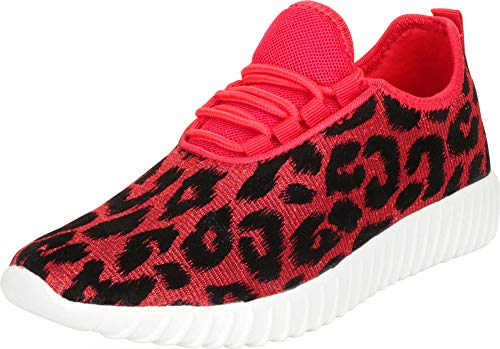 (Cambridge Select Women's Lightweight Lace-Up Casual Sport Fashion Sneaker,10 B(M) US,Red Leopard Glitter)
