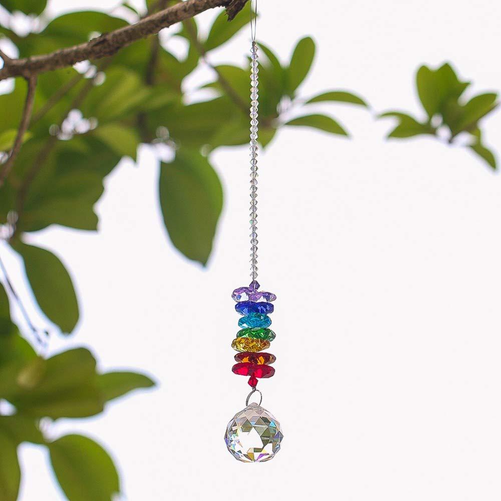 PERIWIN Glass Ball Sun Catcher Glass Ball Pendant Rainbow Maker Hanging Ornament Garden Tree Decor