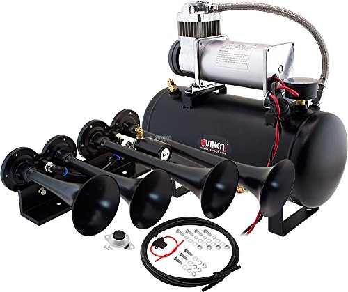 Vixen Horns Loud 149dB 4/Quad Black Trumpet Train Air Horn with 2 Gallon Tank and 150 PSI Compressor Full/Complete Onboard System/Kit VXO8560/4124B