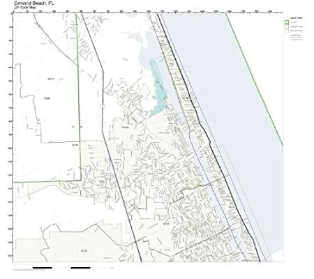 Ormond Beach Zip Code Map.Amazon Com Zip Code Wall Map Of Ormond Beach Fl Zip Code Map