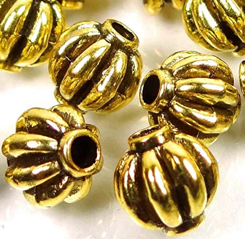 Loose Beads 25 Antique Gold Pewter Lantern Melon Spacer 7mm Buddhist Beads Jewellery Maker ()