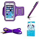 Purple Armband Exercise Workout Case with Keyholder for Jogging fits Motorola Moto Z3 Play Phone. Comes with Matching Stereo Earbuds and Aux Cord.