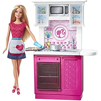 Amazon Com Barbie Doll And Kitchen Furniture Set Toys Games