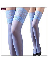 TESOON Women's Lace Top Sheer Thigh High Silk Stockings
