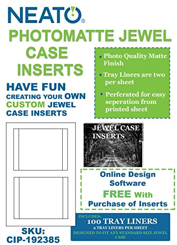 Neato PhotoMatte Jewel Case Inserts, 100 Tray Liners, CIP-192385 - Online Design Access Code (Matte Dvd Case Inserts)