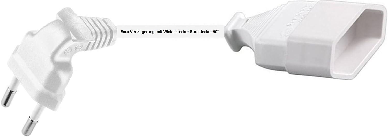 0,25m Euro Verl/ängerung mit Winkelstecker Eurostecker 90/° Kabel weiss