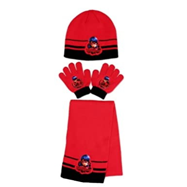 9a564bec8522 Ladybug - Ensemble 3 Pièces Bonnet + écharpe + gants Ladybug Miraculous rouge  Taille unique -