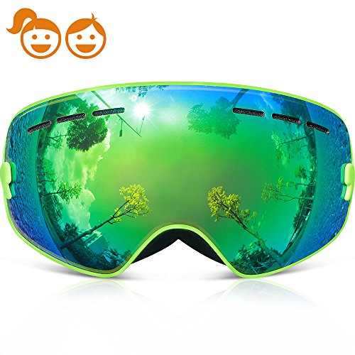 Ski Goggles Kids,COPOZZ G3 Kids Youth Girls Boys Ski Snow Snowboard Goggles - Double Lens Anti Fog Over Glasses Frameless Design Silicone Strap For Toddler Junior Child Baby Snowboarding Green by COPOZZ