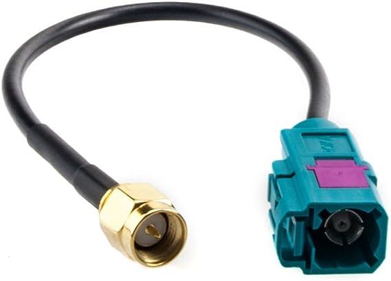 Adaptador de antena GPS de FAKRA (F/jack) en SMA (m/enchufe) - Compatible con TDT, DAB, GSM, FM, AM etc, (cable de 130 mm)