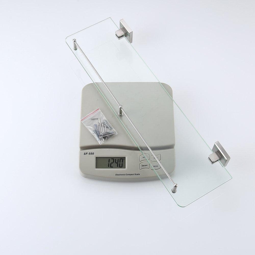 KES Bathroom Glass Shelf 1 Tier Shower Caddy Bath Basket Stainless Steel RUSTPROOF Wall Mount Brushed Finish, A2420A-2