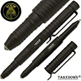 Takedown® Police & Law Enforcement crafted Aircraft Aluminum alloy Flat Tip Heavy Duty Pocket Clip Replaceable Ink Cartridges Window Breaker Black Tactical Pen Police Emblem