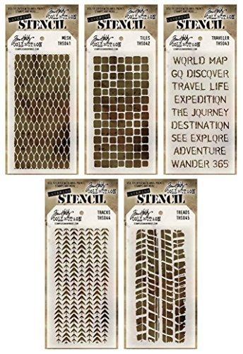 Cheap  Tim Holtz - Stencils Set 3 - Five Item Bundle - Mesh,..