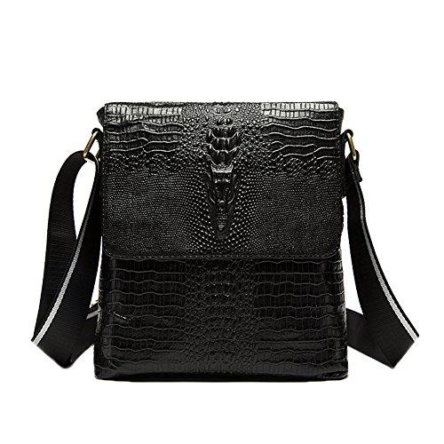 Genda 2Archer Flap-over Crocodile Embossed Business Messenger Satchel Bag (Black) -