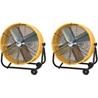 Maxxair BF24TFYELUPS High Velocity Air Movement Two Speed Portable Air Circulator Fan, 24-Inch, Yellow (2-(Pack))