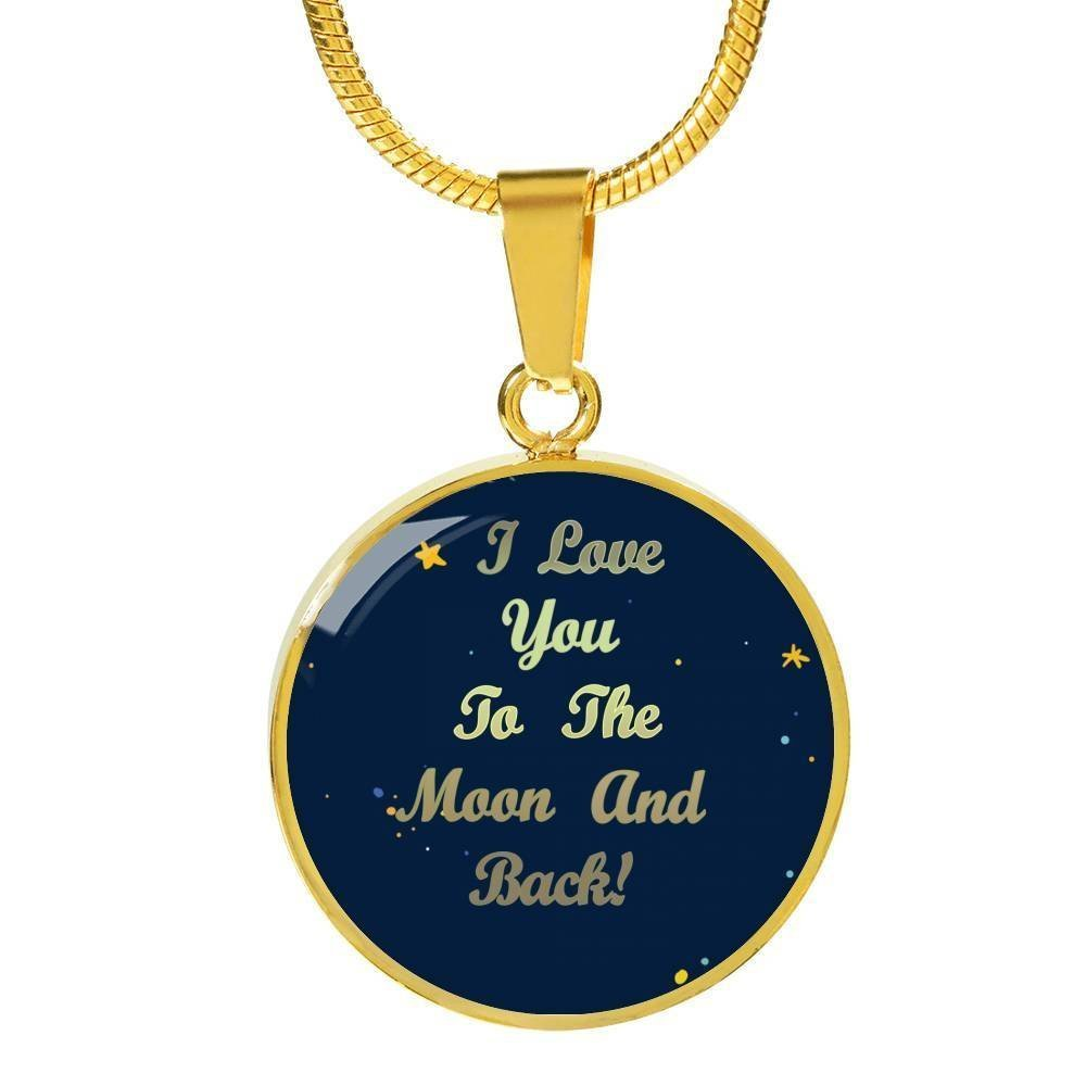 Anniversary Present for Her Fashion Jewelry for Women Ladies Girls Fiancee Romantic I Love You To The Moon /& Back  Circle Pendant Necklace