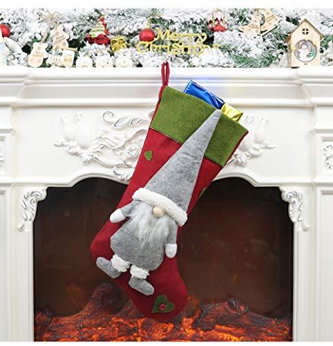 Nikolausstrumpf 3er Set, Nikolausstiefel zum Befüllen 49 x 23cm, großer Weihnachtsstrumpf als Weihnachtsgeschenktasche, Weihnachtsdeko zum Aufhängen für Wand, Kamin, Treppe, Weihnachtsbaum, Zuhause