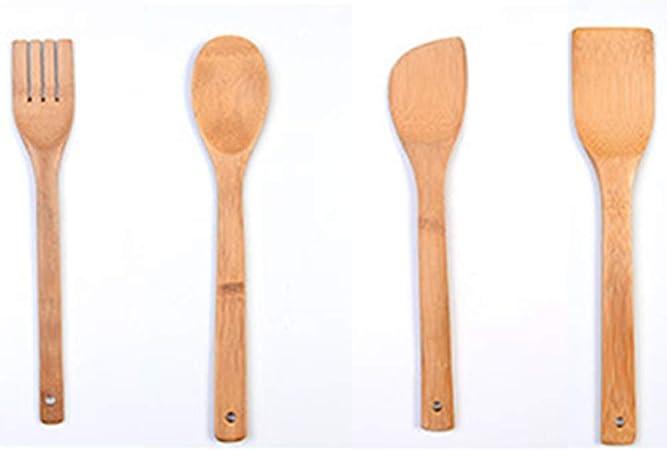 Juego de 4 utensilios de cocina de madera de bambú, cucharas de madera de bambú antiadherente y espátula, utensilios de cocina para viajes, camping, ...