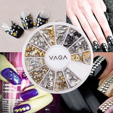 Signstek nail art manicure movable joints artificial acrylic fake professional high quality manicure 3d nail art decorations wheel with gold and silver metal studs in 12 different shapes by vaga prinsesfo Images