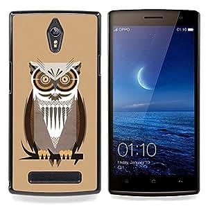 """Qstar Arte & diseño plástico duro Fundas Cover Cubre Hard Case Cover para OPPO Find 7 X9077 X9007 (Owl Branch Brown Big Eyes árbol del pájaro del bosque"""")"""