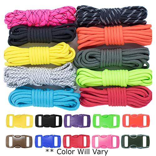 West Coast Paracord Zesty 550lb Survival Paracord Random Combo Crafting Kit 10 Colors of 500lb Cord & 10 Free Buckles - Type III Paracord - Make 10 Paracord Bracelets-Great Gift]()