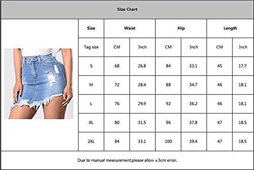 Irrgulire Rtro Lav Femmes Jupe Bleu Haute avec Trous Taille Ourlet Mini Casual Jean Denim Jupes Moulante Jupes Trous GEMSeven Poche Denim XxFqpSPq
