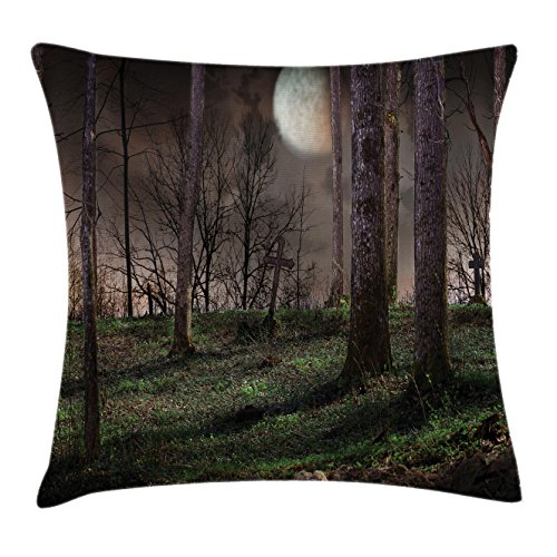 Gothic Throw Pillow Cushion Cover by Lunarable, Dark Night in the Forest with Full Moon Horror Theme Grunge Style Halloween, Decorative Square Accent Pillow Case, 26 X 26 Inches, Brown Green Yellow for $<!--$26.99-->
